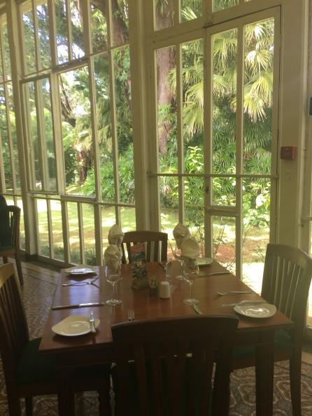 Winter garden turned restaurant at Domaine des Aubinaux, Curepipe, Mauritius