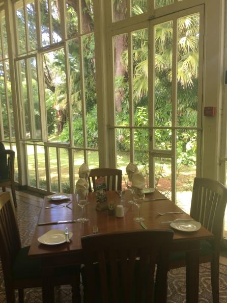 Winter garden turned restaurant at Domaine des Aubinaux, Curepipe, Mauritius