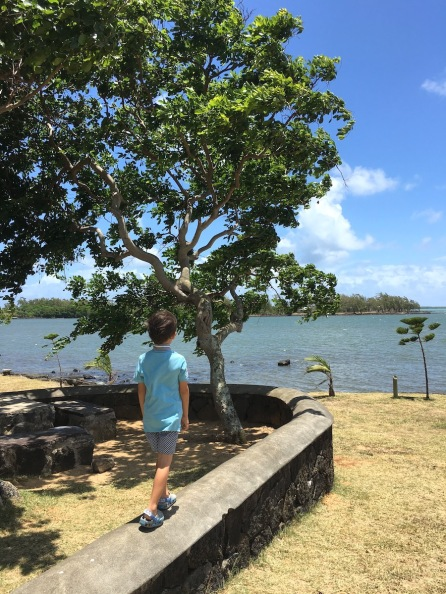 Kiddos 2 walking at the site of Monument St Géran, Poudre d'Or, Mauritius - shipwreck of Saint Géran - Poudre d'Or, Mauritius Things to do in Mauritius - Visits in Mauritius - Story of Paul et Virginie - Wandering Expat Family, Mauritius Travel Blog #Mauritius #traveltips #Ilemaurice #diving #island #holidays