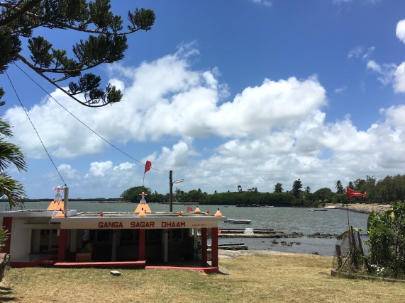 Hindu temple by the ocean at Poudre d'Or, Mauritius