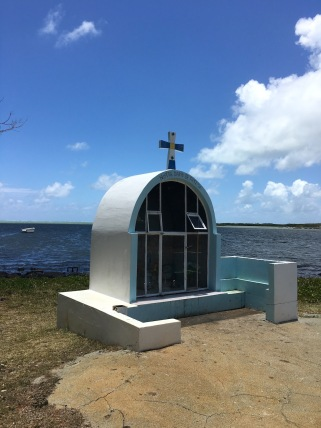 Shrine to Virgin Maria by the ocean at Poudre D'Or Village, Mauritius - Things to do in Mauritius - Visits in Mauritius - Story of Paul et Virginie - Wandering Expat Family, Mauritius Travel Blog #Mauritius #traveltips #holidays