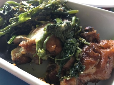 Roast chicken and greens chez Ti Fred - one of the best restaurants in the Grand Anse area of Reunion Island. #food #reunion #lareunion #restaurant