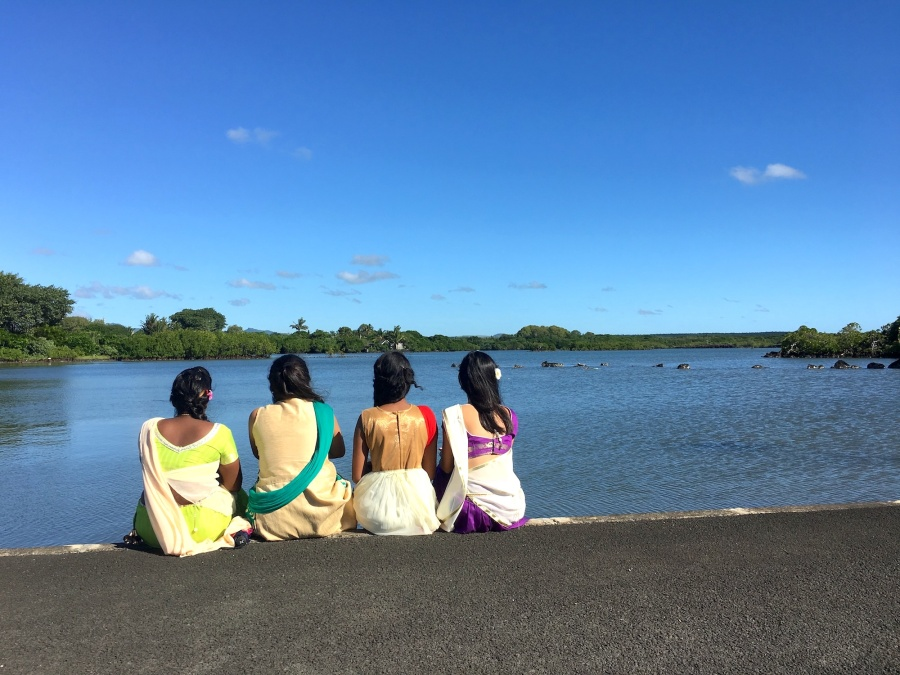 Mauritian girls visiting the temple - Poste de Flac, Mauritius