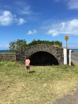 Kiddos 2 in front of the Shrine to Virgin Maria - Devil's Point Mauritius - The battle of Grand Port in Mauritius - #Mauritius #Ilemaurice #Things to do in Mauritius #cultural visits in Mauritius