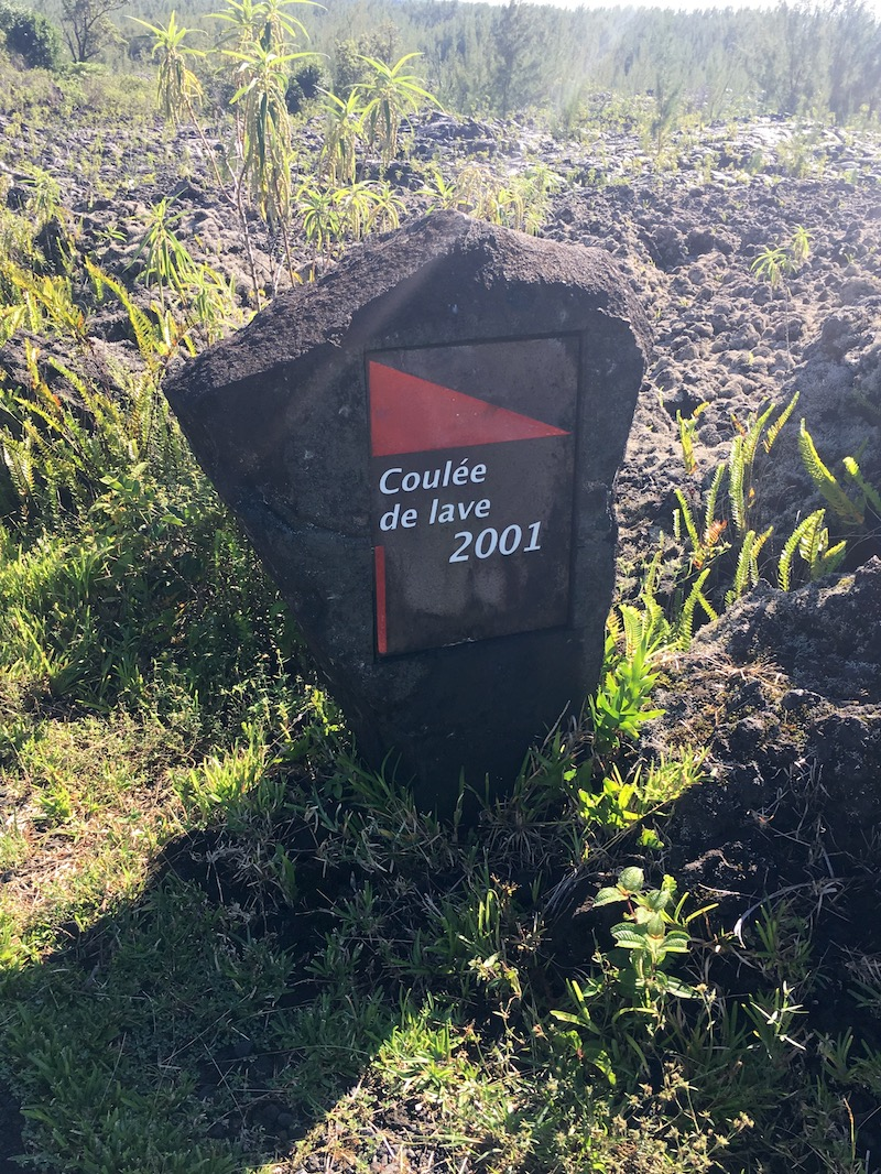 Road signs of every lava flow that reached all the way down - Lava Tunnels in Reunion Island
