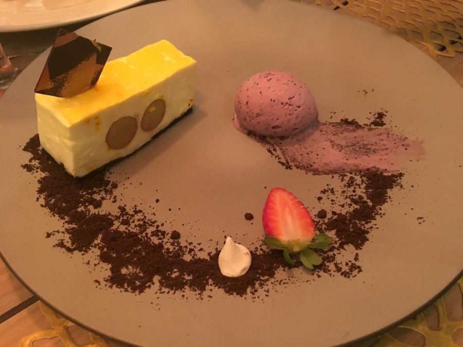 Saffron cheesecake, Amari by Vineet, Lux Belle Mare, Mauritius