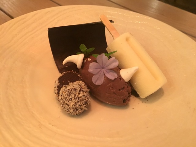 Chocolate mousse and lavender kulfi, Amari by Vineet, Lux Belle Mare, Mauritiu
