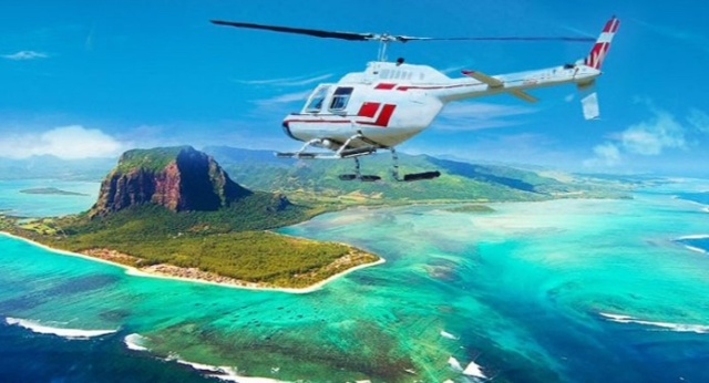 Enjoy a helicopter ride in Mauritius and see the Morne and the underwater waterfall
