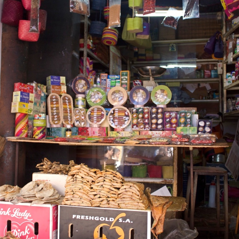Dry fish and spices at the central market in Port Louis