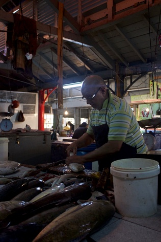 The Fishmonger at the bazar in Port Louis, Mauritius