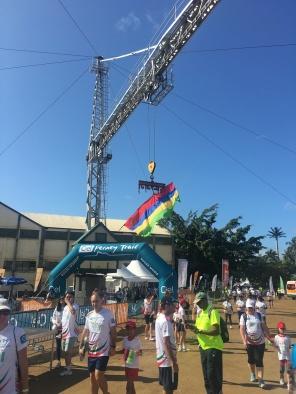 CIEL Ferney Trail Finishing Line with Mauritian Flag