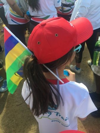 Mauritian flag in the hair at CIEL Ferney Trail 4km race