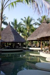 Main restaurant at La Pirogue Resort, Serves buffet breakfast and dinner daily.
