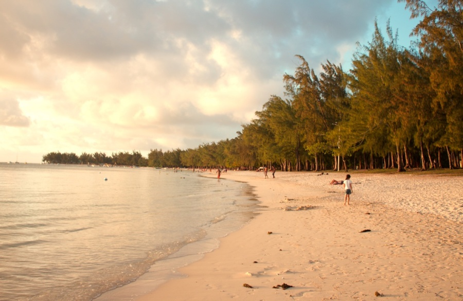 Mont Choisy beach at sunset - one of the top ten best beaches in Mauritius