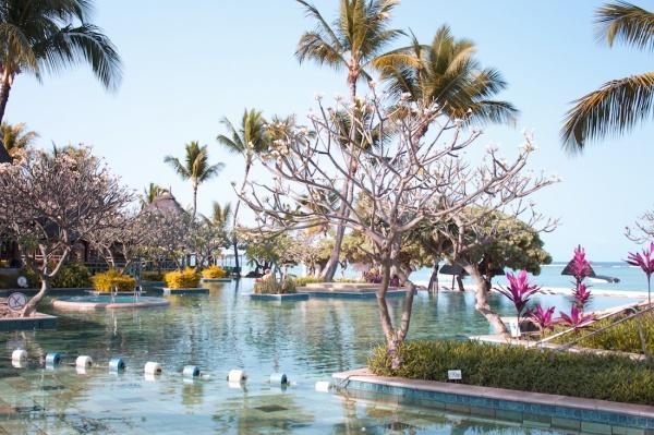 Pool area at La Pirogue Resort, Mauritius