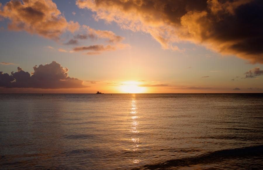 sunset at Mont Choisy Beach