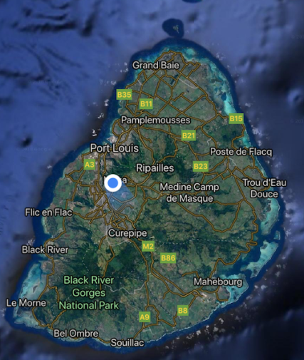 Satellite map of Mauritius - the lagoons surrounding the island are clear