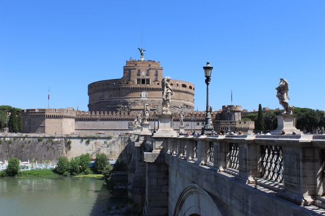 Castel Sant'Angelo view from the Sant'Angelo's bridge in Rome, Italy