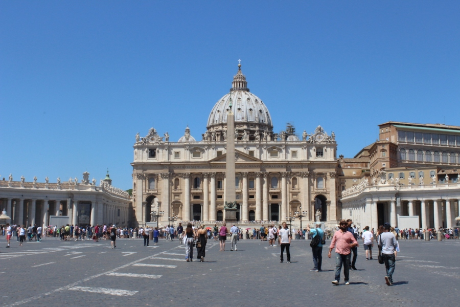 View of St Peter Basilica as seen from St Peter Square