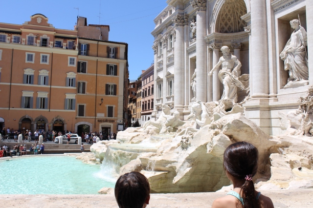View of the Trevi Fountain in Rome, on one of our stops on the Big Bus Tour