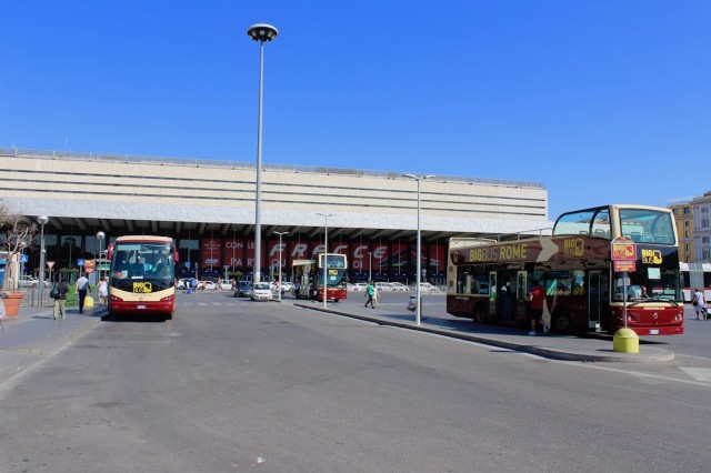View of central station in Rome with the Big Bus Tour Buses.