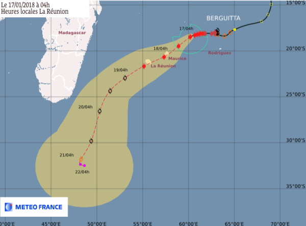 METEO FRANCE CYCLONE BERGUITTA forecast