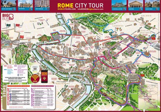 Map of the Big Bus Tour in Rome, Italy