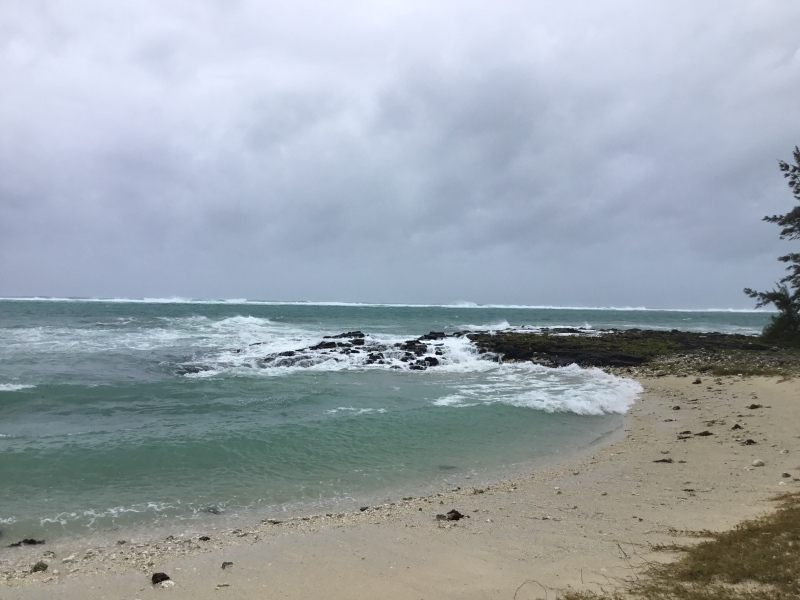 View of Indian Ocean on East Coast of Mauritius before cyclone BERGUITTA
