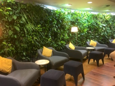 Sitting area in the Air Mauritius Business Class lounge at Plaisance Airport in Mauritius