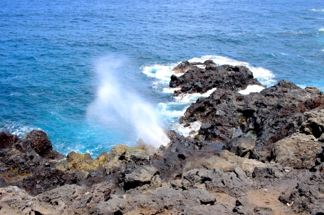 View of le Souffleur in Saint Leu on Reunion Island. The water is propelled up through the hole.