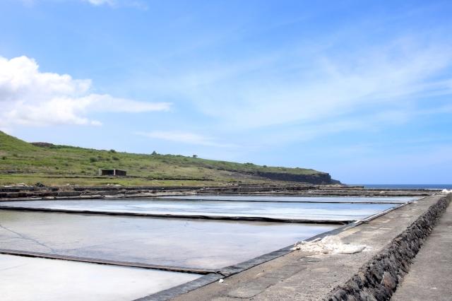 View of salt pans at Pointe au Sel in Saint Leu, Reunion Island