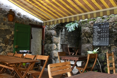 View of Le Vieux Pressoir, a restaurant located in the Botanical gardens in Reunion Island