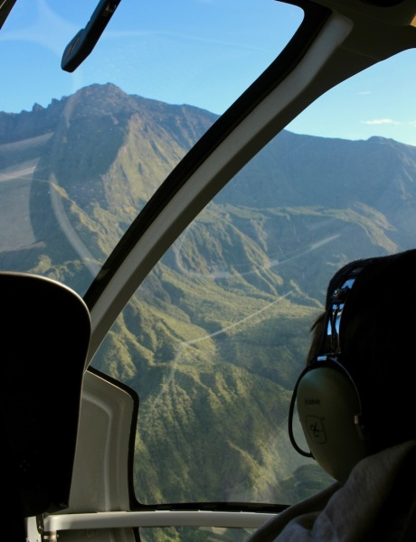 View from the helicopter during our fly-over in Reunion Island
