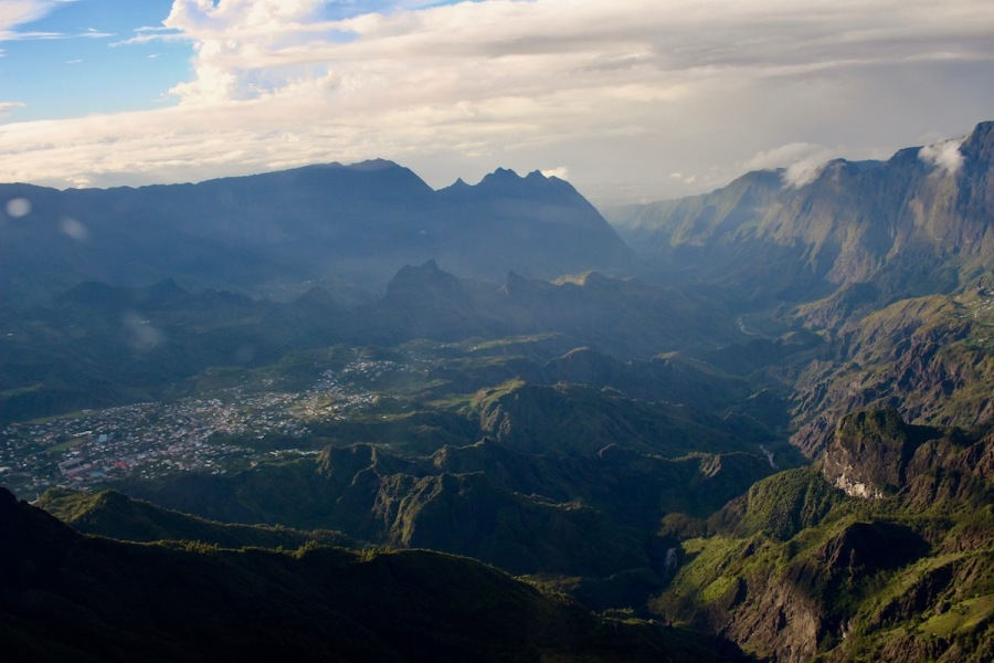 View of Reunion Island from Helicopter