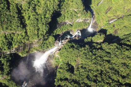 View of waterfalls from above - seen from helicopter in Reunion Island
