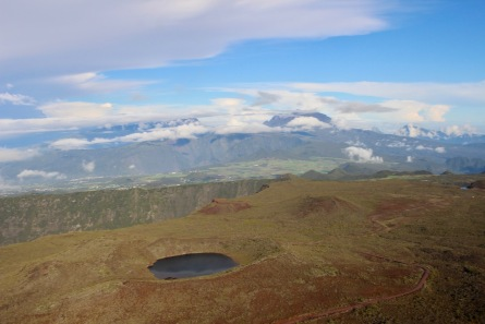View of Plaine des Sables in Reunion Island - with a cratered lake