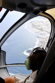 View from inside the helicopter with the coast of Reunion Island in the background