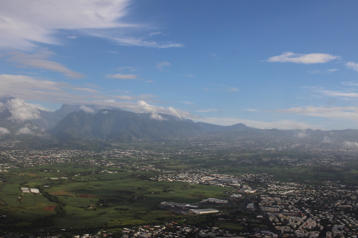 View of Reunion Island from the coast during our helicopter ride