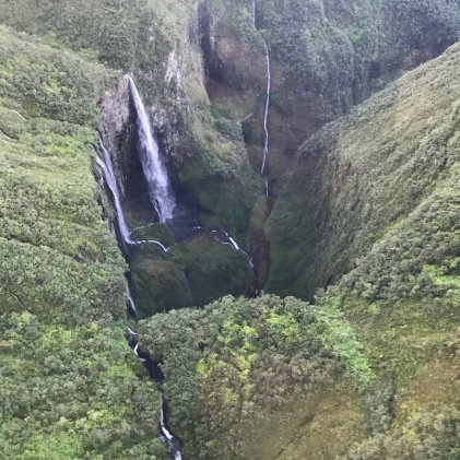 Waterfall in Reunion Island seen from #helicopter