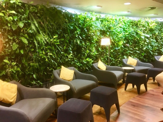 Sitting area in the Business Class Lounge at the International Airport in Plaisance, Mauritius