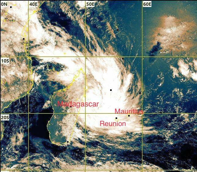View of Tropical Storm Dumazile - Source: Meteo France, La Reunion