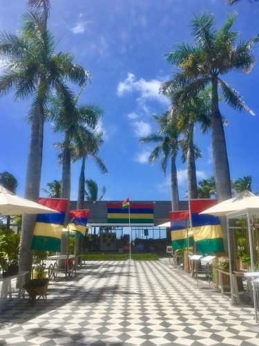 Piazza at the LongBeach Mauritius, a Sun Resort. The Mauritian flag dominates proudly the celebration of the Independence of Mauritius
