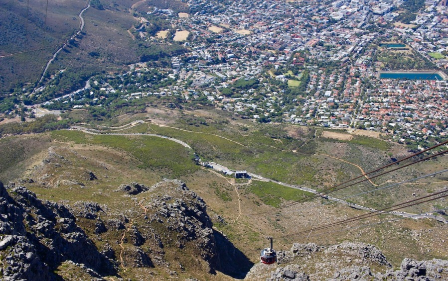 Cableway, Landing area and Cape Town in birds eye view seen from Table Mountain - #capetown #tablemountain #southafrica
