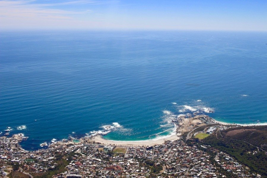 Camps Bay beach and Clifton Beach to the right as seen from Table Mountain - #campsbay #cliftonbeach #capetown #tablemountain #southafrica