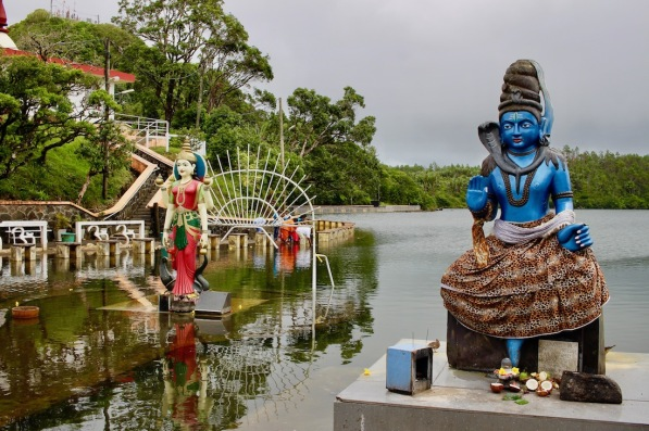Statues at Ganga Talao, hindu pilgrimage site in Mauritius