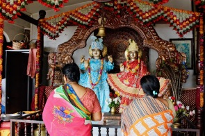Women praying inside the main temple at Ganga Talao in Mauritius
