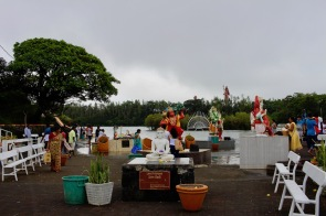 Statues at Ganga Talao - Hindu pilgrimage site in Mauritius
