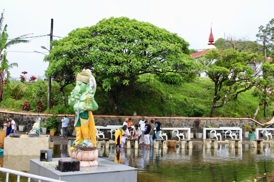 Pilgrims performing rituals at Ganga Talao in Mauritius
