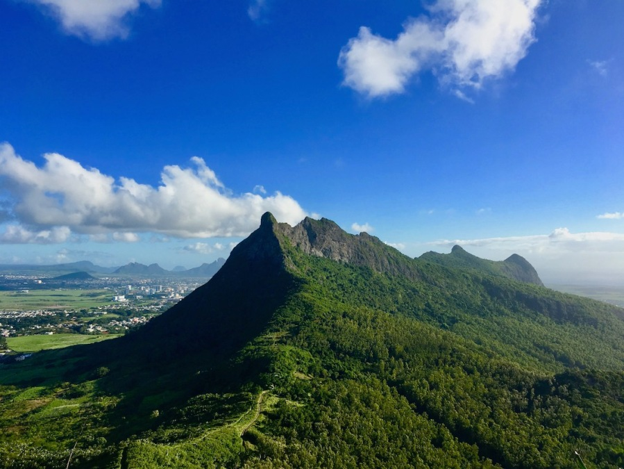 On the way up to The Pouce mountain. View over the South of Mauritius.