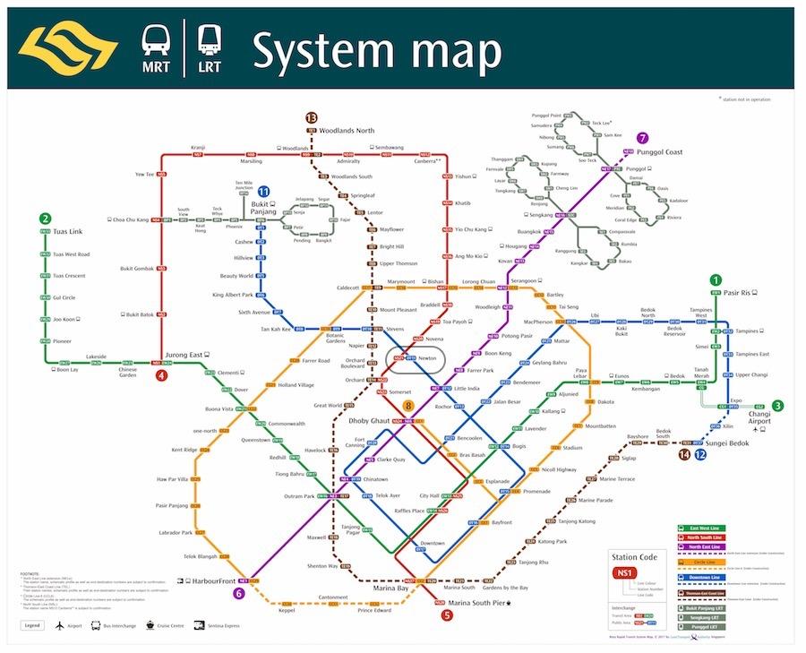 MRT/LRT Map Singapore - Source: LTA.gov.sg